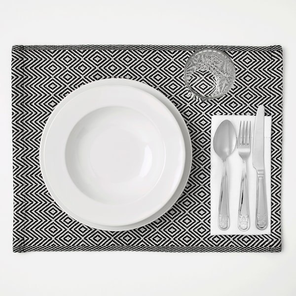 GODDAG กูดดัก แผ่นรองจาน, ดำ/ขาว, 35x45 ซม.