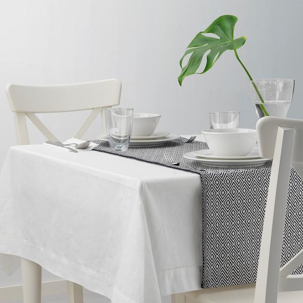 GODDAG กูดดัก ผ้าคาดโต๊ะ, ดำ/ขาว, 35x130 ซม.
