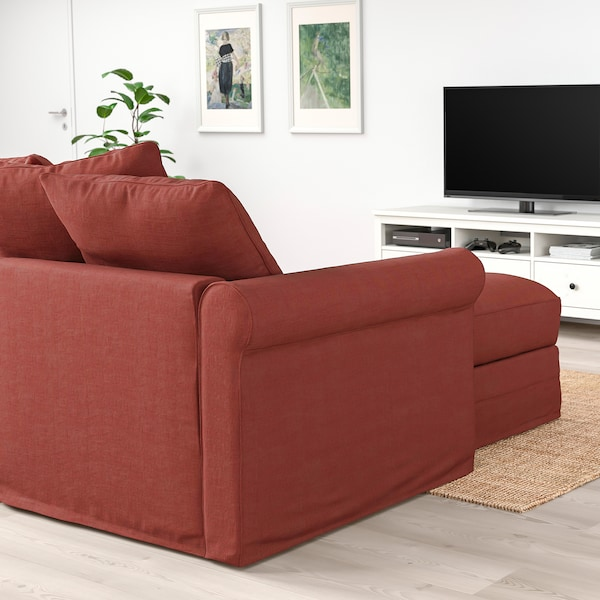 GRÖNLID เกรินลีด โซฟา3ที่นั่ง, +เก้าอี้นวมตัวยาว/ยูงเงน แดงอ่อน