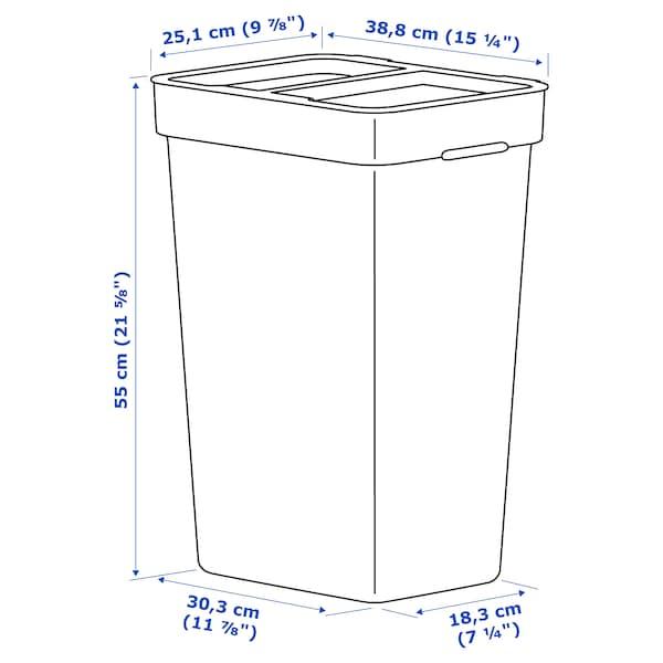 HÅLLBAR ฮลล์บาร์ ถังขยะมีฝาปิด, เทาอ่อน, 35 ลิตร