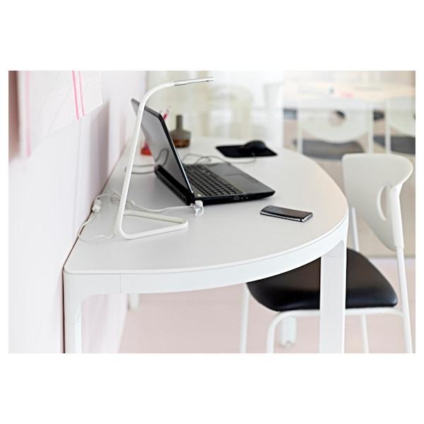 HÅRTE ฮวร์ตเต โคมไฟ LED โต๊ะทำงาน, ขาว/สีเงิน