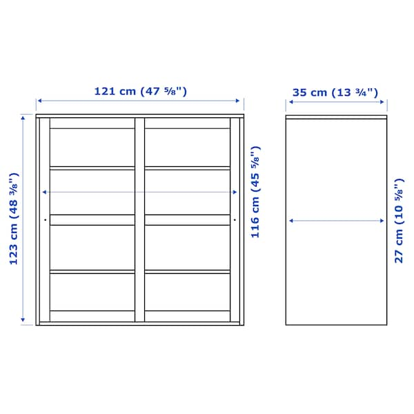 HAVSTA ฮาฟสต้า ตู้บานกระจก, น้ำตาลเข้ม, 121x35x123 ซม.