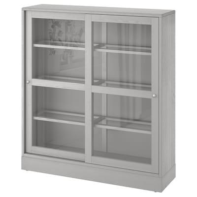 HAVSTA ฮาฟสต้า ตู้บานกระจกพร้อมฐาน, เทา/แก้วใส, 121x37x134 ซม.