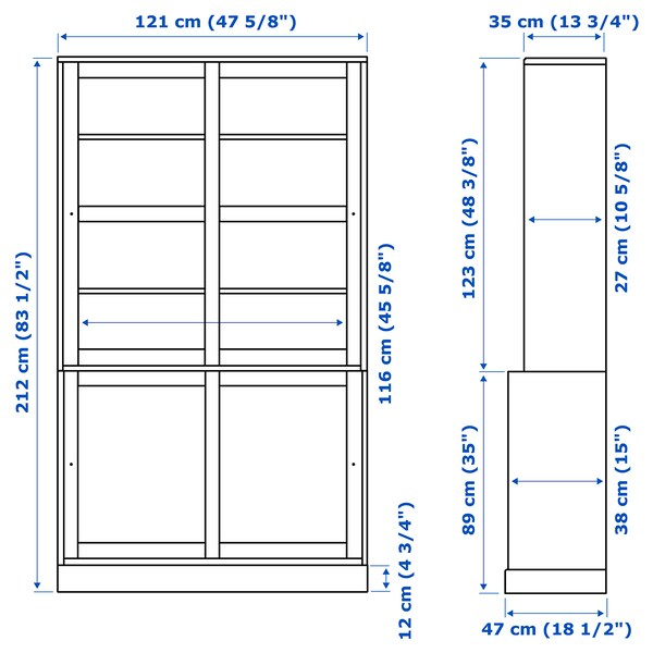 HAVSTA ฮาฟสต้า ชุดตู้บานเลื่อนกระจก, น้ำตาลเข้ม, 121x47x212 ซม.