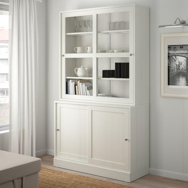 HAVSTA ฮาฟสต้า ชุดตู้บานเลื่อนกระจก, ขาว, 121x47x212 ซม.