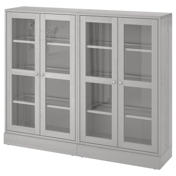 HAVSTA ฮาฟสต้า ตู้เก็บของบานกระจก, เทา, 162x37x134 ซม.