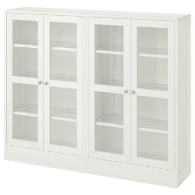 HAVSTA ฮาฟสต้า ตู้เก็บของบานกระจก, ขาว, 162x37x134 ซม.