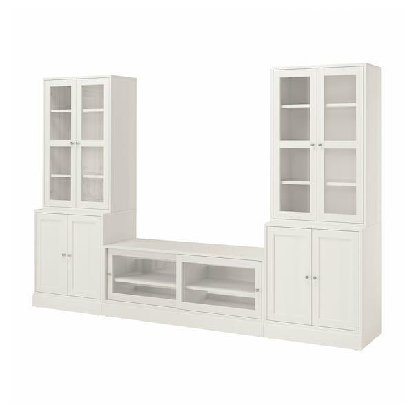 HAVSTA ฮาฟสต้า ชุดตู้ทีวีบานกระจก, ขาว, 322x47x212 ซม.