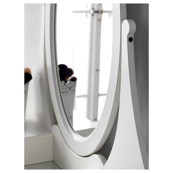 HEMNES เฮมเนส โต๊ะเครื่องแป้งมีกระจก, ขาว, 100x50 ซม.