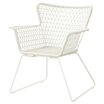 HÖGSTEN เฮิกสเตียน เก้าอี้มีที่วางแขน กลางแจ้ง, ขาว