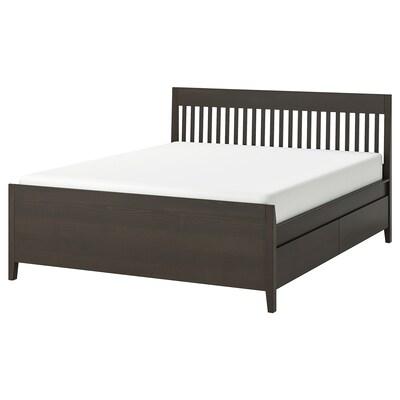 IDANÄS อิดาแนส โครงเตียงพร้อมลิ้นชักเก็บของ, น้ำตาลเข้ม ย้อมสี, 180x200 ซม.