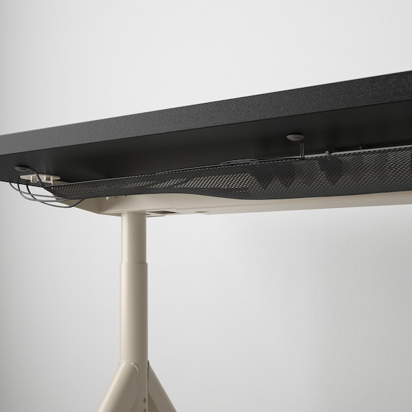 IDÅSEN อิดัวเซน โต๊ะทำงาน, ดำ/เบจ, 160x80 ซม.