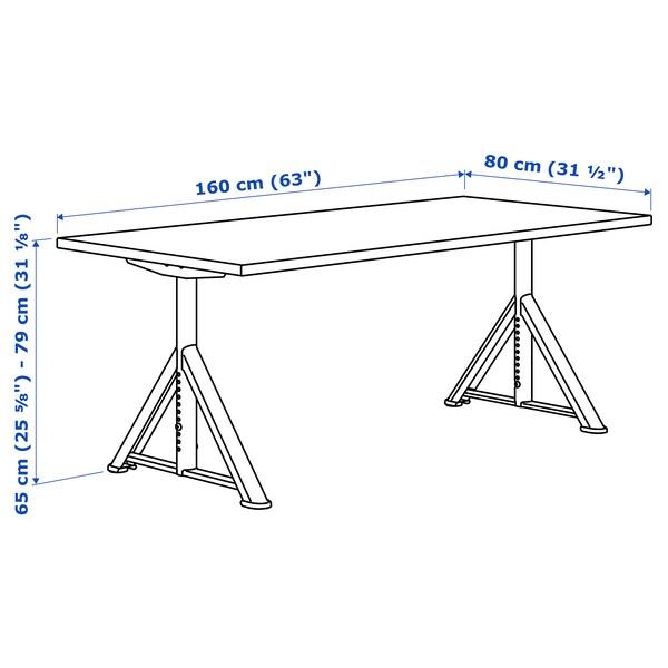 IDÅSEN อิดัวเซน โต๊ะทำงาน, ดำ/เทาเข้ม, 160x80 ซม.