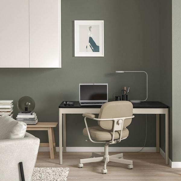 IDÅSEN อิดัวเซน โต๊ะ, ดำ/เบจ, 140x70x75 ซม.