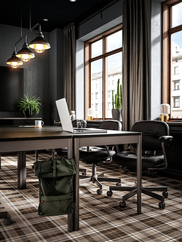 IDÅSEN อิดัวเซน โต๊ะ, ดำ/เทาเข้ม, 140x70x75 ซม.