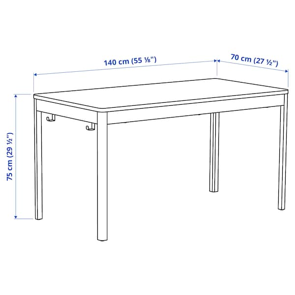 IDÅSEN อิดัวเซน โต๊ะ, น้ำตาล/เบจ, 140x70x75 ซม.