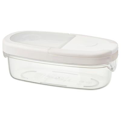 IKEA 365+ อิเกีย 365+ กล่องใส่อาหารแห้งพร้อมฝา, ใส/ขาว, 0.3 ลิตร