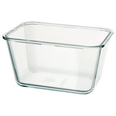 IKEA 365+ อิเกีย 365+ กล่องเก็บอาหาร, สี่เหลี่ยมผืนผ้า/แก้ว, 1.8 ลิตร