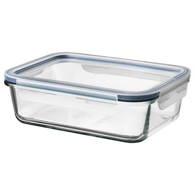 IKEA 365+ อิเกีย 365+ กล่องเก็บอาหารพร้อมฝาปิด, สี่เหลี่ยมผืนผ้า แก้ว/พลาสติก, 1.0 ลิตร