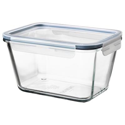 IKEA 365+ อิเกีย 365+ กล่องเก็บอาหารพร้อมฝาปิด, สี่เหลี่ยมผืนผ้า แก้ว/พลาสติก, 1.8 ลิตร