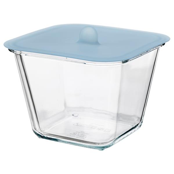 IKEA 365+ อิเกีย 365+ กล่องเก็บอาหารพร้อมฝาปิด, สี่เหลี่ยมจัตุรัส แก้ว/ซิลิโคน, 1.2 ลิตร