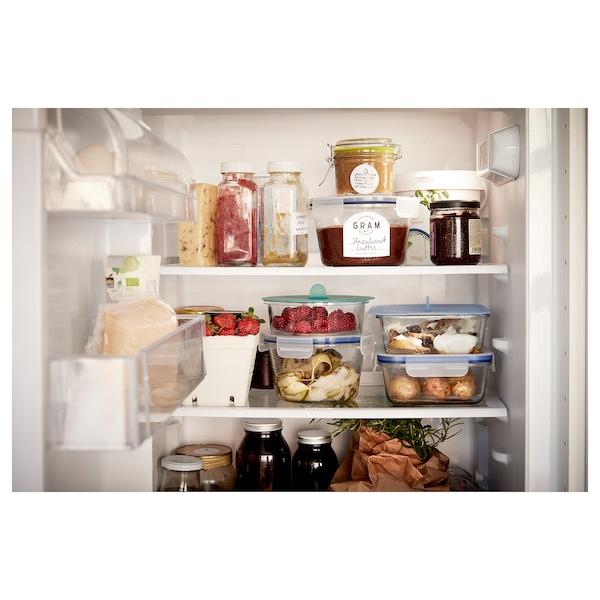 IKEA 365+ อิเกีย 365+ กล่องเก็บอาหารพร้อมฝาปิด, สี่เหลี่ยมจัตุรัส แก้ว/ซิลิโคน, 600 มล.
