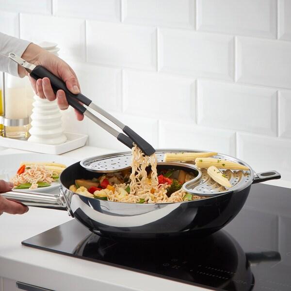 IKEA 365+ HJÄLTE อิเกีย 365+ เยลเต้ ที่คีบอาหาร, สแตนเลส/ดำ