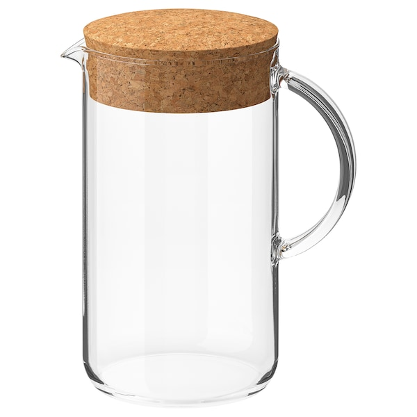 IKEA 365+ อิเกีย 365+ เหยือกน้ำมีฝา, แก้วใส/ไม้ก๊อก, 1.5 ลิตร