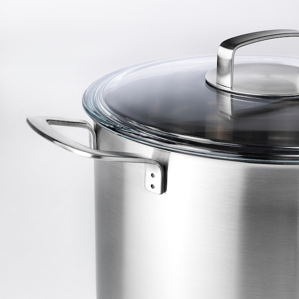 IKEA 365+ อิเกีย 365+ หม้อน้ำซุปพร้อมฝาปิด, สแตนเลส/แก้ว, 10 ลิตร