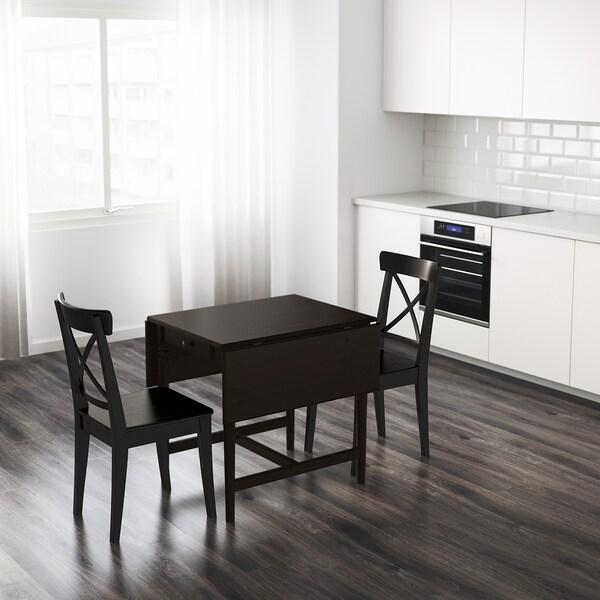 INGATORP อิงงาทอร์ป โต๊ะพับข้าง, น้ำตาลดำ, 65/123x78 ซม.