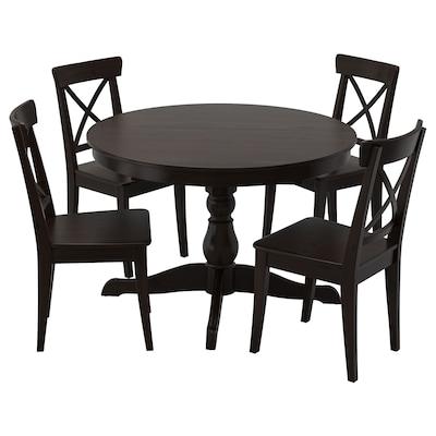 INGATORP อิงงาทอร์ป / INGOLF อิงกอล์ฟ โต๊ะและเก้าอี้ 4 ตัว, ดำ/น้ำตาลดำ, 110/155 ซม.