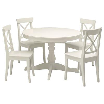 INGATORP อิงงาทอร์ป / INGOLF อิงกอล์ฟ โต๊ะและเก้าอี้ 4 ตัว, ขาว/ขาว, 110 ซม.
