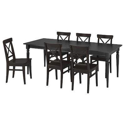 INGATORP อิงงาทอร์ป / INGOLF อิงกอล์ฟ โต๊ะและเก้าอี้ 6 ตัว, ดำ/น้ำตาลดำ, 155/215 ซม.