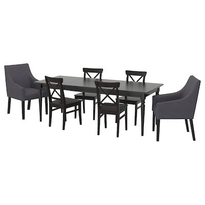 INGATORP อิงงาทอร์ป / INGOLF อิงกอล์ฟ โต๊ะและเก้าอี้ 6 ตัว, ดำ/สปูร์ดา เทาเข้ม, 155/215x87 ซม.