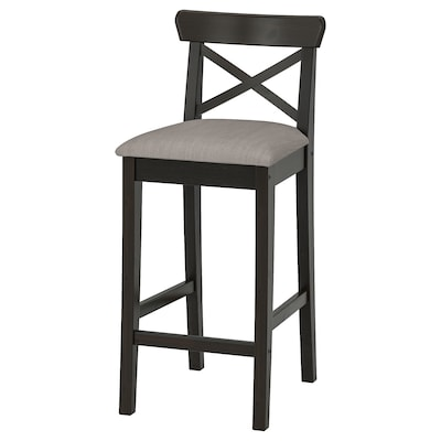 INGOLF อิงกอล์ฟ เก้าอี้บาร์มีพนัก, น้ำตาลดำ/นูลฮากา เบจ-เทา, 65 ซม.