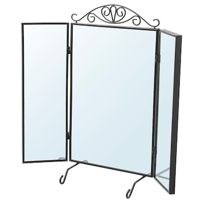 KARMSUND คาร์มซุนด์ กระจกเงาตั้งโต๊ะ, ดำ, 80x74 ซม.