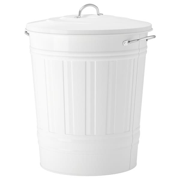 KNODD คนอดด์ ถังขยะมีฝาปิด, ขาว, 40 ลิตร
