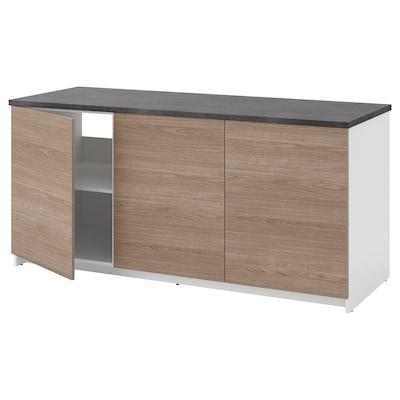 KNOXHULT คน็อกซ์ฮุลท์ ตู้ตั้งพื้นพร้อมบานตู้, ลายไม้/เทา, 180x85 ซม.