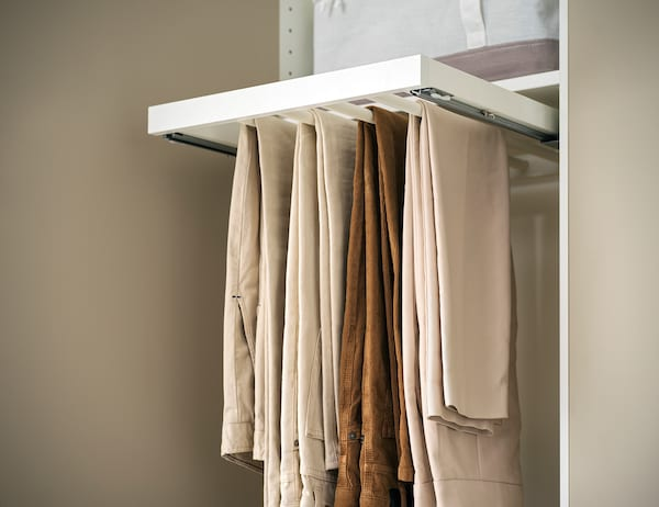KOMPLEMENT คอมเพลียเมนท์ ราวแขวนกางเกงแบบเลื่อนได้, ขาว, 100x58 ซม.