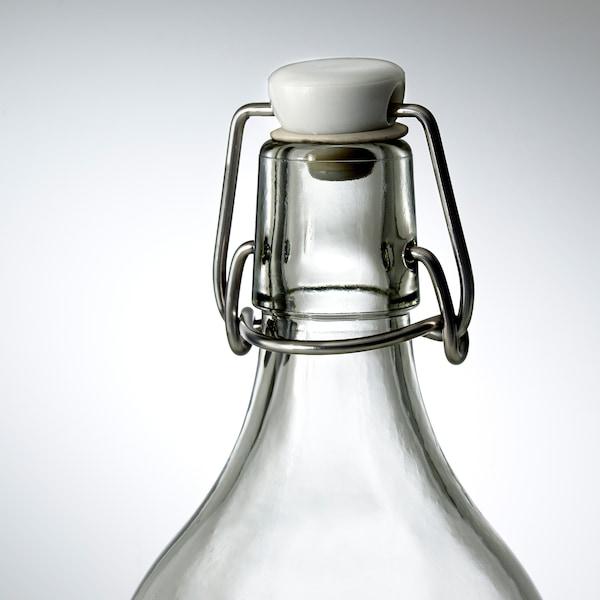 KORKEN คอร์เก้น ขวดแก้วมีจุกล็อก, แก้วใส, 1 ลิตร