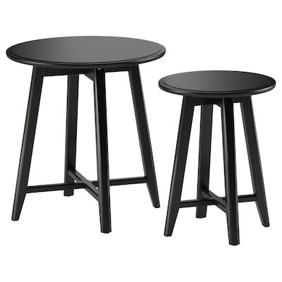 KRAGSTA คร็อกสต้า โต๊ะซ้อน ชุด 2 ตัว, ดำ