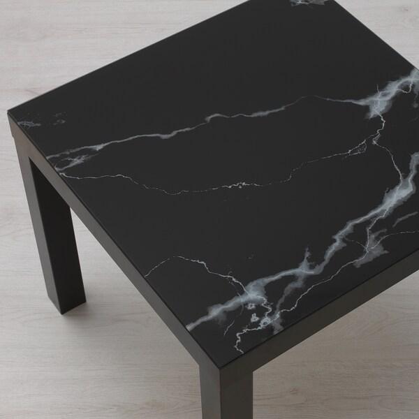 LACK ลัค ท็อปกระจก, ลายหินอ่อน/ดำ, 55x55 ซม.
