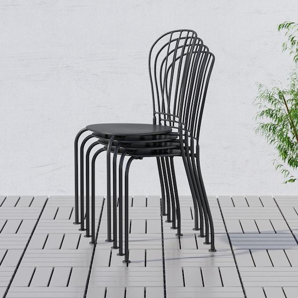 LÄCKÖ เลคค์เออ โต๊ะ+เก้าอี้ 2 ตัว กลางแจ้ง, เทา