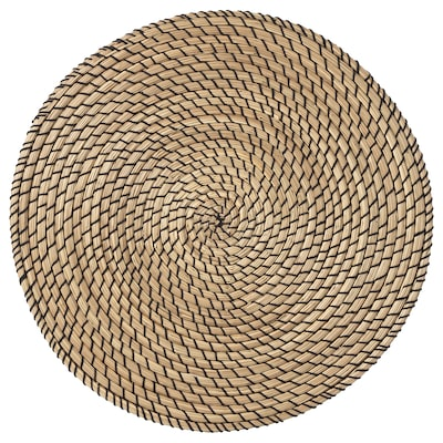 LÄTTAD แลทตัด แผ่นรองจาน, หญ้าทะเล/ดำ, 37 ซม.