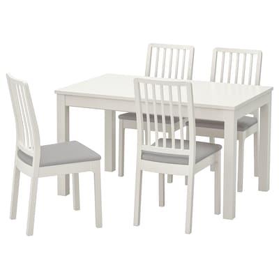 LANEBERG เลนเบรย์ / EKEDALEN เอียเคดาเลน โต๊ะและเก้าอี้ 4 ตัว, ขาว/ขาว เทาอ่อน, 130/190x80 ซม.