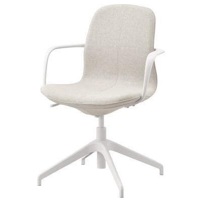 LÅNGFJÄLL ลองฟแยล เก้าอี้ประชุมมีที่วางแขน, กุนนาเรียด เบจ/ขาว