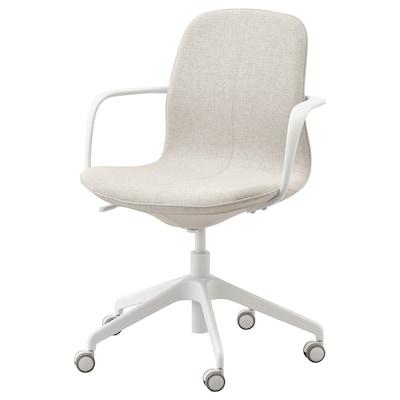 LÅNGFJÄLL ลองฟแยล เก้าอี้สำนักงานมีที่วางแขน, กุนนาเรียด เบจ/ขาว