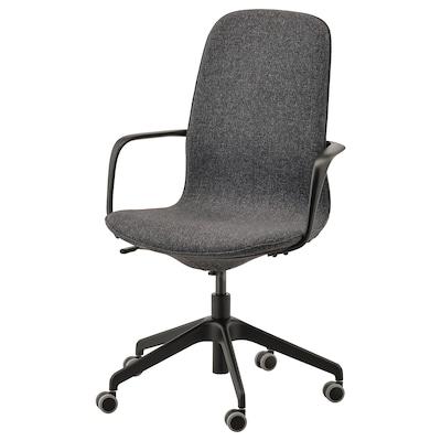 LÅNGFJÄLL ลองฟแยล เก้าอี้สำนักงานมีที่วางแขน, กุนนาเรียด เทาเข้ม/ดำ
