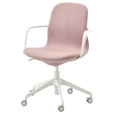 LÅNGFJÄLL ลองฟแยล เก้าอี้สำนักงานมีที่วางแขน, กุนนาเรียด สีน้ำตาลอมชมพูอ่อน/ขาว