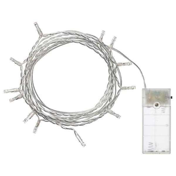LEDFYR เลียดฟีร์ ไฟประดับ LED 12 ดวง, ใช้ในบ้าน/ใช้แบตเตอรี สีเงิน